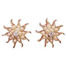 Antique Victorian 14K Gold .20CT TW Diamond Natural Pearl Starburst Sunburst Pierced Earrings