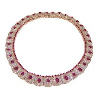 Estate 14K Gold 8.05CT TW Diamond 22.55CT TW Ruby Link Necklace Collar Necklace Evening Necklace