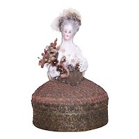 Art Deco French Half Size Marie Antoinette Porcelain Doll Powder Box - No Contents