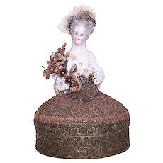 Art Deco French Half Size Marie Antoinette Porcelain Doll Powder Box - No Contents