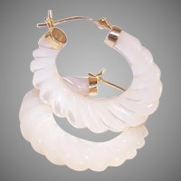 Vintage 14K Gold Mother of Pearl Shrimp Hoop Earrings