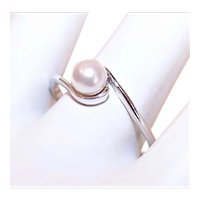 Avon Sterling Silver 5mm Akoya Cultured Pearl Fashion Ring