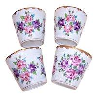 Set/4 Antique French Soft Paste Porcelain Serving Cups - Gilded Edges with Handpainted Florals