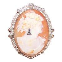 Ostby & Barton 14K Gold Cornelian Shell Diamond Cameo Pin Brooch Pendant Combo - Lady Wearing an Earring