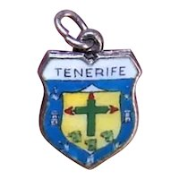 800 Silver Enamel European Travel Shield Charm - Tenerife Canary Islands Spain