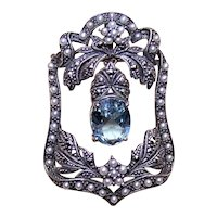 Edwardian Revival Sterling Silver Blue Topaz Pearl Marcasite Pendant Pin Combo