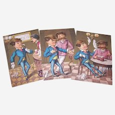 Star Cough Drops - Dapper Gentleman in a Beer Hall - Set of 3 Victorian Trade Cards