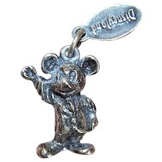 Walt Disney Productions Sterling Silver 3D Mickey Mouse Charm for Disneyland Theme Parks