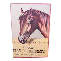 Star Cough Drops for Coughs and Colds - Horse in Stall - Victorian Trade Card