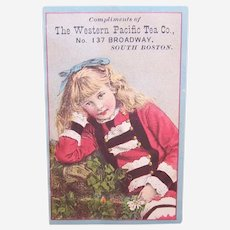The Western Pacific Tea Co - Little Girl Dressed in Red - Victorian Trade Card