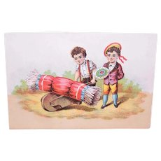 Victorian Chromolithograph Card - Boy with Bouquet - Boy with Party Cracker