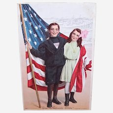 Vintage 4th of July Postcard - The National Pride - Boy & Girl with American Flag