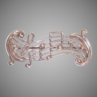 Vintage Beau Sterling Silver Musical Notes Pin Brooch
