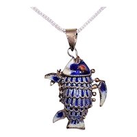 China Sterling Silver Blue & White Enamel Articulated Fish Charm or Pendant