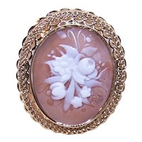 Art Deco 14K Gold Shell Cameo Watch Pin or Pendant - Carved Floral Design
