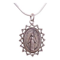 Creed Sterling Silver Religious Medal, Charm or Pendant - Virgin Mary, Miraculous Medal