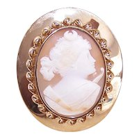 14K Gold Carved Cornelian Shell Cameo Pin Pendant Combo - Artemis, Goddess of the Hunt