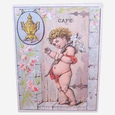 Dilworth's Coffee is Unequaled - Cupid with Bow - Victorian Trade Card