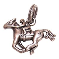 Sterling Silver Charm - Jockey on Race Horse - Horse Racing - Lucky Number 7