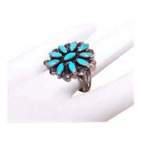 Native American Zuni Sterling Silver Petit Point Turquoise Cab Ring