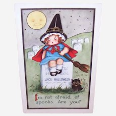 Postally Used 1919 Halloween Postcard - Little Girl Witch on Headstone - Black Kitten - I'm Not Afraid of Spooks