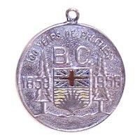 Sterling Silver Enamel Charm - 100 Years of Progress - British Columbia Canada