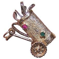Vintage 14K Gold Gemstone Charm - Mechanical Golf Bag with Golf Clubs