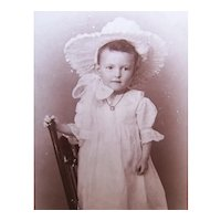 Boy or Girl?  Victorian B&W Cabinet Card Photograph - Child Standing on Chair