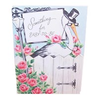 Unused 1950s Baby Shower Greeting Card - Something for Baby to Be - Stork with Pink Roses