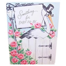 Unused 1950s Fairfield Baby Shower Greeting Card - Something for Baby to Be - Stork with Pink Roses