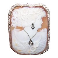 14K Gold Cornelian Shell .11CT TW Diamond Cameo Pin Brooch Pendant Combo - Lady Wearing a Necklace & Earring