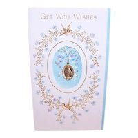 Unused 1960s Get Well Wishes Greeting Card with Miraculous Mary Medal Attachment