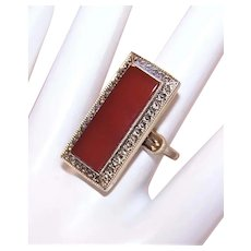 Theda Art Deco Revival Sterling Silver Carnelian Marcasite Adjustable Ring