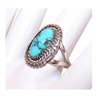 Native American Sterling Silver Oval Turquoise Cab Ring