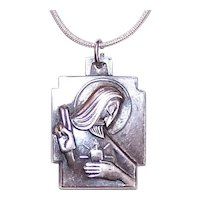 Creed Sterling Silver Religious Medal Pendant - Sacred Heart of Jesus - Our Lady of the Scapular
