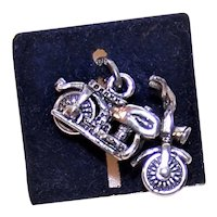 Beau Sterling Silver Charm - Motorcycle on Original Card
