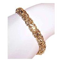 Italian Made in Italy Sterling Silver Vermeil Byzantine Chain Bracelet - 12.6 Grams
