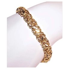 Italian Made in Italy Sterling Silver Vermeil Byzantine Chain Bracelet - 12.6 Grams