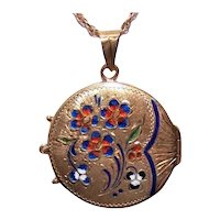 Victorian Revival 14K Gold Enamel Round Locket Pendant - Gilbert & Sullivan's The Mikado Oriental Design Open Fan