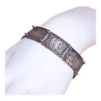 Vintage Greek Made in Greece Silverplate Costume Souvenir Link Bracelet - Panels of Greek Gods and Architecture