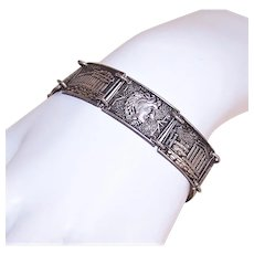 Vintage Greek Made in Greece Silverplate Costume Souvenir Link Bracelet - Panels of Greek Gods and Architecture
