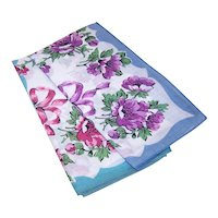 Pair 100% Cotton Linen Floral Printed Unused Handkerchiefs Hankies - Plum/Pink and Purple/Lavender