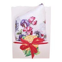 100% Cotton Linen Floral Printed Unused Handkerchief Hanky with Original Presentation Gift Card and Envelope