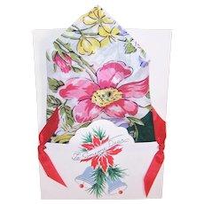 Vintage 100% Cotton Linen Floral Printed Unused Handkerchief Hanky with Original Christmas Presentation Card and Envelope