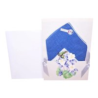 Vintage 100% Cotton Linen Floral Printed Unused French Handkerchief Hanky with Original Presentation Card and Envelope