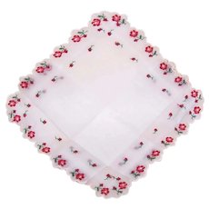 Swiss 100% Cotton Linen Unused Handkerchief Hanky - White with Pink/Red Embroidered Florals