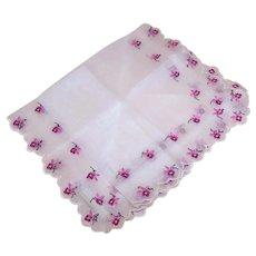 Swiss 100% Cotton Linen Unused Handkerchief Hanky - White with Light Pink/Dark Pink Embroidered Florals