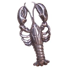 Beau Sterling Silver Pin Brooch - Maine New England Lobster