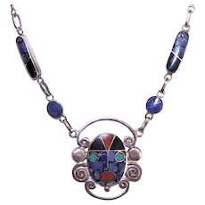 Mexican Made in Mexico 950 Silver Inlaid Stone Aztec God Inca God Face Pendant Necklace