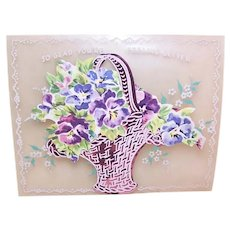 1950s Unused Celluloid Pink Foil & Paper Basket of Pansies 'Glad You're Feeling Better' Greeting Card